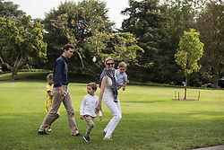 August 27, 2017 - Washington, District of Columbia, United States of America - Special Advisor to The President Jared Kushner and .Special Advisor to The President Ivanka Trump walk across the South Lawn of the White House with their children, Arabella, 6, Joseph, 3, and Theodore, 1. The Kishner's accompanied the first family to Camp David for the weekend. Credit: Alex Edelman / Pool via CNP (Credit Image: © Alex Edelman/CNP via ZUMA Wire)