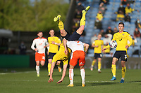 Blackpool's Jerry Yates and Oxford United's Rob Atkinson<br /> <br /> Photographer Rob Newell/CameraSport<br /> <br /> Sky Bet League One Play-Off Semi-Final 1st Leg - Oxford United v Blackpool - Tuesday 18th May 2021 - Kassam Stadium - Oxford<br /> <br /> World Copyright © 2021 CameraSport. All rights reserved. 43 Linden Ave. Countesthorpe. Leicester. England. LE8 5PG - Tel: +44 (0) 116 277 4147 - admin@camerasport.com - www.camerasport.com