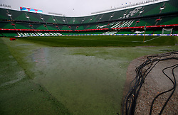 A general view of puddles on the pitch as heavy rain comes down prior to the Nations League match at Benito Villamarin Stadium, Seville.