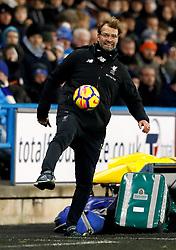 Liverpool manager Jurgen Klopp kicks the ball during the Premier League match at the John Smith's Stadium, Huddersfield.