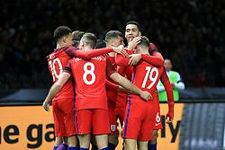 England's Jamie Vardy celebrates with his team mates after the second goal - Mandatory by-line: Matt McNulty/JMP - 26/03/2016 - FOOTBALL - Olympiastadion - Berlin, Germany - Germany v England - International Friendly
