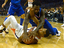 October 21, 2017 - Los Angeles, California, U.S. - Los Angeles Clippers guard Patrick Beverley (21) fights for the loose ball with Phoenix Suns forward TJ Warren (12) in the first quarter during an NBA basketball game at the Staples Center on Saturday, Oct 21, 2017 in Los Angeles. .(Photo by Keith Birmingham, Pasadena Star-News/SCNG) (Credit Image: © San Gabriel Valley Tribune via ZUMA Wire)