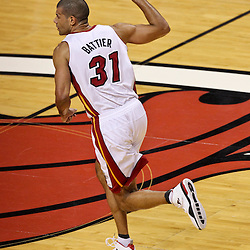 Jun 21, 2012; Miami, FL, USA; Miami Heat small forward Shane Battier (31)reacts after hitting a threes pointer Oklahoma City Thunder during the first quarter in game five in the 2012 NBA Finals at the American Airlines Arena. Mandatory Credit: Derick E. Hingle-US PRESSWIRE