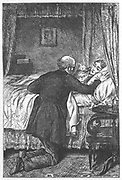 Amos Barton at his wife's deathbed. Illustration by Robert Barnes for George Eliot 'Scenes of Clerical Life', London, 1883 (first published 1857).