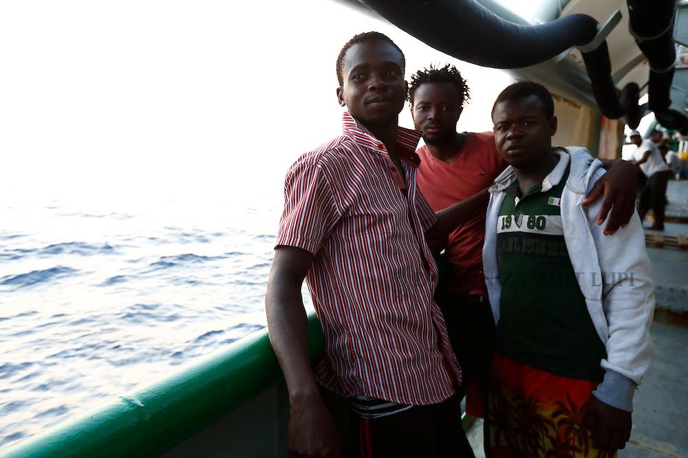 Rescued migrants on board MSF rescue ship Bourbon Argos in central Mediterranean, August 2015.   <br /> Photo by Darrin Zammit Lupi