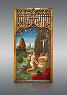 Gothic Catalan Alterpiece of Sant Jeroni Penetant by Mestre de la Seu d'Urgell, circa 1495, tempera and gold leaf on wood, from the church of Santa Maria de Puigcerda, Baixa Cerdanya, Spain.  National Museum of Catalan Art, Barcelona, Spain, inv no: MNAC  15821. . .<br /> <br /> If you prefer you can also buy from our ALAMY PHOTO LIBRARY  Collection visit : https://www.alamy.com/portfolio/paul-williams-funkystock/gothic-art-antiquities.html  Type -     MANAC    - into the LOWER SEARCH WITHIN GALLERY box. Refine search by adding background colour, place, museum etc<br /> <br /> Visit our MEDIEVAL GOTHIC ART PHOTO COLLECTIONS for more   photos  to download or buy as prints https://funkystock.photoshelter.com/gallery-collection/Medieval-Gothic-Art-Antiquities-Historic-Sites-Pictures-Images-of/C0000gZ8POl_DCqE
