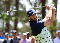 April 6, 2018 - Augusta, GA, USA - Dustin Johnson hits his tee shot on four during the second round of the Masters at Augusta National Golf Club on Friday, April 6, 2018, in Augusta, Ga. (Credit Image: © Curtis Compton/TNS via ZUMA Wire)