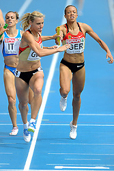31-07-2010 ATLETIEK: EUROPEAN ATHLETICS CHAMPIONSHIPS: BARCELONA<br /> Jill Richards and Claudia Hoffman GER in the 4x400m Womens Relay <br /> ©2010-WWW.FOTOHOOGENDOORN.NL