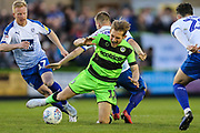 Forest Green Rovers George Williams(11) is brought down by Tranmere Rovers Jay Harris(8) during the EFL Sky Bet League 2 second leg Play Off match between Forest Green Rovers and Tranmere Rovers at the New Lawn, Forest Green, United Kingdom on 13 May 2019.