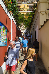 Positano, Italy, September 16 2017. Tourists descend the the steep streets of Positano, Italy. © Paul Davey