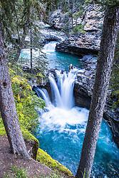 Johnston Canyon Waterfall.  Johnston Canyon is a beautiful slot canyon in Canada's Banff National Park