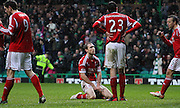 16.03.2013 Glasgow, Scotland.   Russell Anderson slumps to his knees  during the Clydesdale Bank Premier League match between, Celtic and Aberdeen, from Celtic Park Stadium.