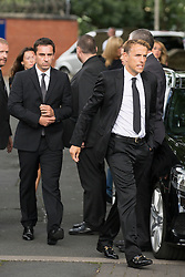 © Licensed to London News Pictures. 27/08/2015. Bury, UK.  Picture shows Phil & Gary Neville. The funeral of Neville Neville father of footballers Gary & Phil Neville & England net ball coach Tracey has taken place today at Bury Parish church. Neville died in Australia after being taken ill on a visit to support his daughter  Tracey.  Photo credit: Andrew McCaren/LNP