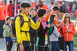 Boston Marathon: BAA 5K road race, runners before start of race
