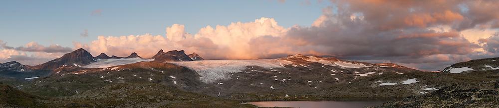 Panorama of sunset at Jotunheimen National Park, Norway (digital composite)