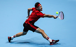 2017?11?15?.    ?????1???——ATP?????????????.       11?15?????????.       ???????????ATP???????????????????????????2?1???????????.       ?????????.??????.(SP) BRITAIN-LONDON-TENNIS-ATP FINALS-THIEM VS BUSTA.(171115) -- LONDON, Nov. 15, 2017  Dominic Thiem of Austria competes during the singles round-robin match against Pablo Carreno Busta of Spain during the Nitto ATP World Tour Finals at O2 Arena in London, Britain on Nov. 15, 2017. Dominic Thiem won 2-1. (Credit Image: © Tang Shi/Xinhua via ZUMA Wire)