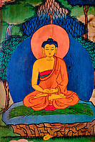 Inde, Bengale Occidental, Darjeeling, Ghum, interieur du Monastère Yiga Choeling gompa // India, West Bengal, Darjeeling, Ghum, Yiga Choeling Monastery