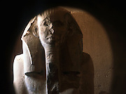 Statue of Djoser (Zoser) 2nd king of 3rd Dynasty (c2686-2613 BC) from the Mastaba near the Step Pyramid. Ancient Egypt 2,700 BC. Had the first stone pyramid complex constructed.