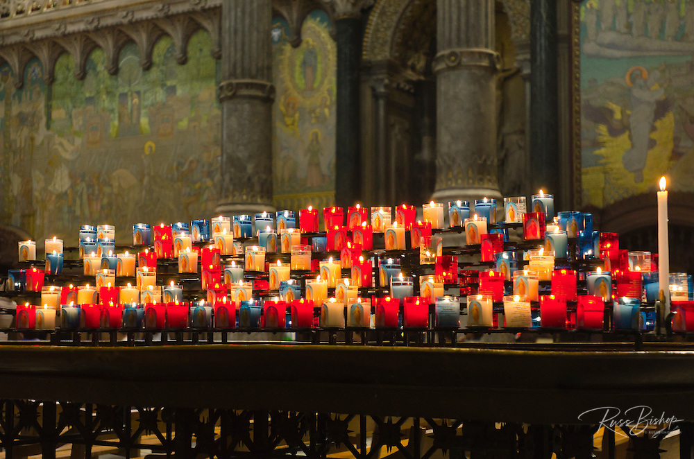 Prayer candles in the Fourvière Basilica in old town Vieux Lyon, France (UNESCO World Heritage Site)