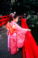 Japanese girl wearing kimono, Chinzan-so Garden