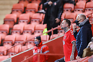 Charlton Athletic fans watching the game during the EFL Sky Bet League 1 match between Charlton Athletic and AFC Wimbledon at The Valley, London, England on 12 December 2020.