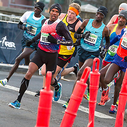 lead pack of elite men, Meb Keflezighi