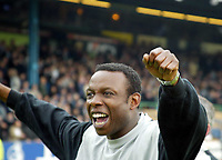 Photo. Chris Ratcliffe<br /> Digitalsport<br /> NORWAY ONLY<br /> Southend Utd v Torquay Utd. Nationwide Division 3. 08/05/2004<br /> Leroy Rosenior manager of Torquay celebrates promotion to div 2