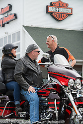 Jay & Megan Rasmus of CT are ready to head out onto the road on their brand new 2017 Harley-Davidson Ultra CVO after buying it through Laconia Harley-Davidson salesperson Tim Klenk. They'll deal with getting their 2009 Ultra Classic home another time! Laconia Harley-Davidson during Laconia Motorcycle Week, New Hampshire, USA. Saturday June 17, 2017. Photography ©2017 Michael Lichter.