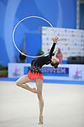 Durunda Marina during qualifying at hoop in Pesaro World Cup 26 April 2013.<br /> Marina is a Azerbaijani individual rhythmic gymnast of Ukrainian origin, she born on June 12, 1997 in Sevastopol.