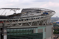 Photo: Daniel Hambury.<br /> Wembley Stadium. 14/06/2006.<br /> A detail showing part of the sliding roof of the new home of English football, Wembley, seen from the roof of the nearby Ibis hotel.
