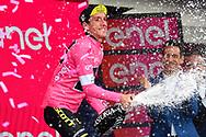 Podium Simon Yates (GBR - Mitchelton - Scott) pink leader jersey celebration during the 101th Tour of Italy, Giro d'Italia 2018, stage 15, Tolmezzo - Sappada 178 km on May 20, 2018 in Italy - Photo Dario Belingheri / BettiniPhoto / ProSportsImages / DPPI