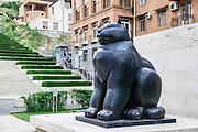 Armenia, Yerevan, Cafesjian Museum of Art and the Cascade Cat Sculpture by Fernando Botero