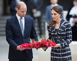 October 14, 2016 - Manchester, Greater Manchester, UK - Manchester , UK . The Duke and Duchess of Cambridge lay a wreath during a service at the Cenotaph at Manchester Town Hall during a dedication service , on their visit in Manchester  (Credit Image: © Joel Goodman/London News Pictures via ZUMA Wire)