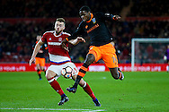 Middlesbrough defender, on loan from Arsenal, Calum Chambers (25)  tries to stop Sheffield Wednesday forward Lucas Joao (19)  during the The FA Cup match between Middlesbrough and Sheffield Wednesday at the Riverside Stadium, Middlesbrough, England on 8 January 2017. Photo by Simon Davies.