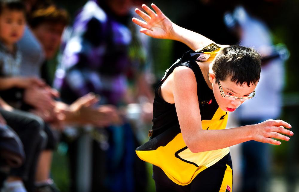 Nederland, Den Bosch, 02-06-2012.<br /> Special Olympics, Spelen voor geestelijk gehandicapten.<br /> 400 meter, mannen.<br /> De laatste, zware meters naar de finish.<br /> Foto : Klaas Jan van der Weij