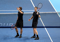 Jamie Murray (right) and Bruno Soares after winning their doubles match during day four of the NITTO ATP World Tour Finals at the O2 Arena, London.