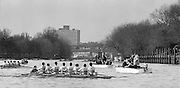 Chiswick. London.Crew Marshalling Area, outside Quintin RC Boat House, <br /> Eights starting from Mortlake<br /> Looking back at Kew Rail Bridge,<br /> 1987 Head of the River Race over the reversed Championship Course Mortlake to Putney on the River Thames. Saturday 28.03.1987. <br /> <br /> [Mandatory Credit: Peter SPURRIER;Intersport images] 1987 Head of the River Race, London. UK