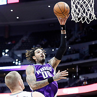 06 March 2017: Sacramento Kings center Willie Cauley-Stein (00) goes for the jump shot over Denver Nuggets center Mason Plumlee (24) during the Denver Nuggets 108-96 victory over the Sacramento Kings, at the Pepsi Center, Denver, Colorado, USA.