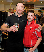 Paul Cunnane from Claremorris Mayo with Rugby legend Trevor Brennan  at the Guinness Area22 event in the Carlton Hotel Galway.