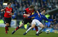 Fotball<br /> Premier League 2004/05<br /> Everton v Blackburn<br /> 6. mars 2005<br /> Foto: Digitalsport<br /> NORWAY ONLY<br /> Kevin Kilbane of Everton is fouled by Andy Todd of Blackburn as David Thompson looks on