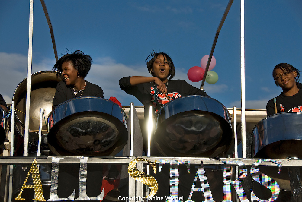 Steel band rehearsing for Notting Hill Carnival