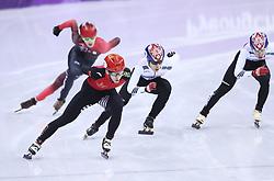 PYEONGCHANG, Feb. 22, 2018  Wu Dajing (2nd L) of China competes during men's 500m final of short track speed skating at the 2018 PyeongChang Winter Olympic Games at Gangneung Ice Arena, Gangneung, South Korea, Feb. 22, 2018. Wu Dajing claimed gold medal in a time of 0:39.584 and set new world record. (Credit Image: © Lan Hongguang/Xinhua via ZUMA Wire)