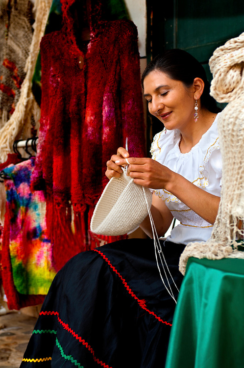 Colombia, Villa de Leyva, Boyaca Province, Colonial Town, Traditional Hat Knitter, Real Fabrica de Licores Colonial Museum