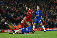 Mohamed Salah of Liverpool shoots and scores his teams 1st goal. Premier League match, Liverpool v Chelsea at the Anfield stadium in Liverpool, Merseyside on Saturday 25th November 2017.<br /> pic by Chris Stading, Andrew Orchard sports photography.