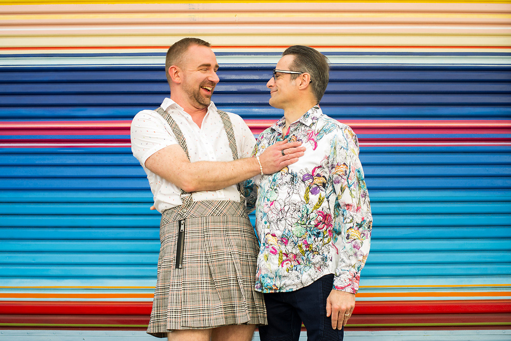 """Paul Richmond (he/him) and Dennis Niekro (he/him)<br /> <br /> """"When you grow up feeling so different and find someone else you really connect with, you feel normal and can be yourself,"""" said Richmond, left. """"I grew up being so guarded for my own protection that it was challenging at first to be vulnerable with someone else. What makes our relationship so joyful is that we allow ourselves to safely take those walls down.""""<br /> <br /> Niekro defined his joy as """"just being able to live our lives like anyone else and be with each other in a very natural way.""""<br /> <br /> The two live in Marina, California. Richmond is an artist, and Niekro is a nurse practitioner."""