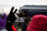Obama Inauguration train -- Edgewood, Maryland. The train made a slow pass through a neighborhood rail station to a cheering crowd.