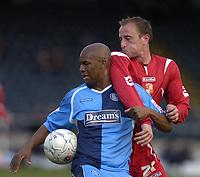 Photo: Matt Bright/Sportsbeat Images.<br /> Wycombe Wanderers v Swindon Town. The FA Cup. 10/11/2007.<br /> Blair Sturrock of Swidon & Leon Johnson of Wycombe