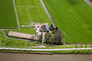 Nederland, Beemster, Westdijk, 16-04-2012; Roan, manege IJslandse paarden.  Beemster, Westdijk met Beemsterringvaart. Aan de horizon Midden-Beemster..Roan, icelandic horses breeder and riding school with stables and arena in the middle of the polder Beemster. Historic regular land division, detail. luchtfoto (toeslag), aerial photo (additional fee required).foto/photo Siebe Swart