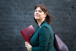 © Licensed to London News Pictures. 30/01/2018. London, UK. Secretary of State for Business, Energy and Industrial Strategy Claire Perry arriving in Downing Street to attend a Cabinet meeting this morning. Photo credit : Tom Nicholson/LNP