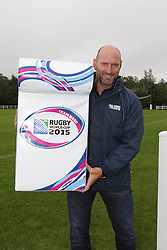 © Licenced to London News Pictures.  26/08/2014. Lawrence Dallaglio former England rugby captain is ambassador for RFWC 2015 and has announced today that Cobham RFC will be the training ground base for Italy and Namibia for Rugby World Cup 2015. Lawrence pictured with chairman Tony Balkwill and club members and younger rugby players.  Photo Credit: Presspics/LNP